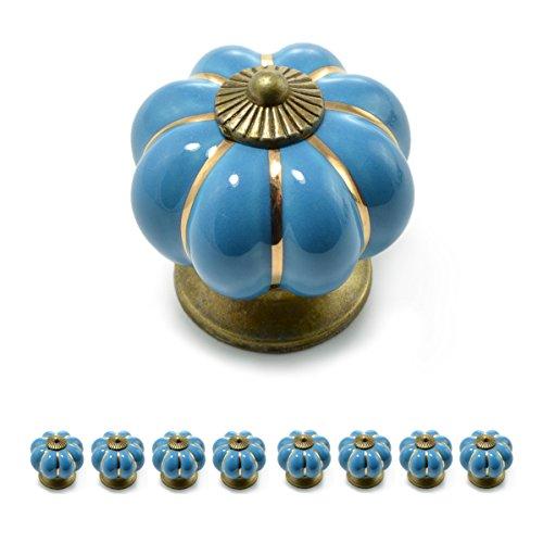 """Set Möbelknöpfe """"Krone"""" aus Porzellan mit antik Bronze Verzierung, (Set in vielen verschiedenen Farben erhältlich) Vintage Schrankknauf aus Keramik, Möbelgriff, Marke Ganzoo (8er SET, Blau)"""