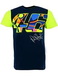 Valentino Rossi VR46 Moto GP Grande 46 Signature azul Camiseta Oficial 2017