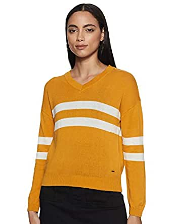 People Women's Cotton Pullover (P2C290518294520_Yellow_S)