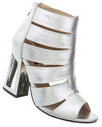 Damen Peep Toes Sandaletten | Extravaganter Absatz | High Heels mit Reißverschluss | Pumps Abendschuhe | Sommerschuhe Partypumps | Silber 40