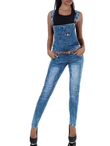 N649 Damen Jeans Hose Hüfthose Damenjeans Hüftjeans Röhrenjeans Röhre Latzhose, Farben:Blau;Größen:34 (XS)