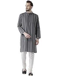Vivids India Men's Cotton Grey Kurta - G-206