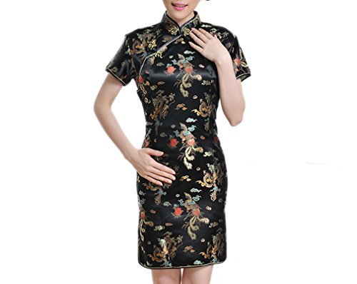 Luck Femme Robe Chinoise Cheongsam Qipao Manches Courtes Moulante en Brocart Noir