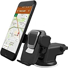 AlexVyan Adjustable Car Windshield Dashboard Quick One Touch Technology Mobile Holder Stand, 360 Degree Rotation (Black)