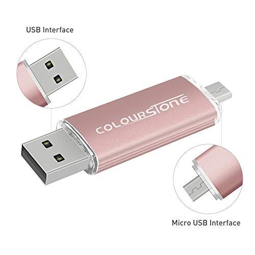 OTG Speicherstick USB 2.0, 32 GB, Dual Port, kompatibel mit Samsung Huawei Smartphones und Tablets Roségold