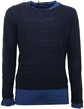 B5205 maglione uomo MESSAGERIE cotone blu sweater men