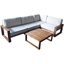 Loungemöbel Holz OUTLIV. Santa Cruz Loungemöbel Outdoor 5 Teilig Akazie  Teaklook Gartenlounge Loungegruppe