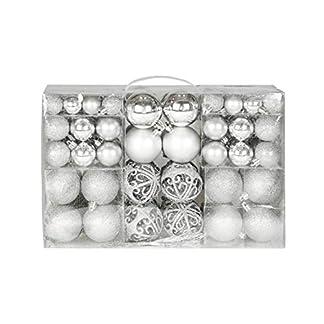 Mel O Design Exclusiva Bolas de Navidad Bolas para árbol de Navidad Set con 100 Pieza Color Plata