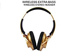 Acid Eye Adjustable Bluethooth Headphone With Controlling Functions - Golden