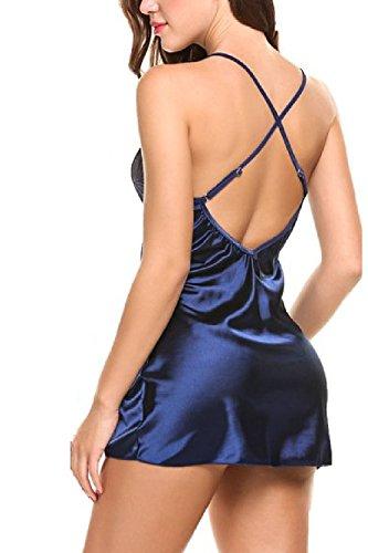 Le Donne Sexy Con Criss Cross Lingerie In Forma & Razzo Vestaglie Camicia Pigiama Blue