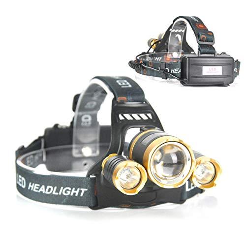 WOSOSYEYO 3 x XML T6 LED nachladbare Kopflampe Scheinwerfer-Lampen-Licht