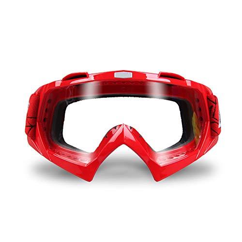 CXJ Motocross-Brille Motorradbrillen PU-Harz Winddicht Staubdicht Dirt Bike Goggles Wickeln Sie Reitbrillen Schützende Sicherheit Off Road Goggles,Red