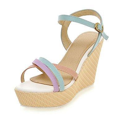 LvYuan Damen-Sandalen-Büro Kleid Party & Festivität-Kunstleder-Keilabsatz-Club-Schuhe-Blau Rosa Lila Mandelfarben Blue