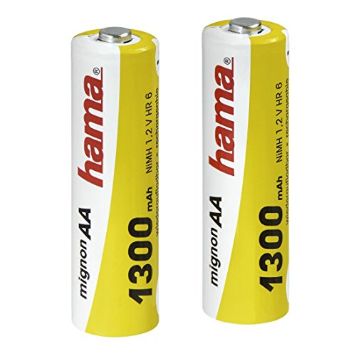 Galleria fotografica Hama NiMH Battery 2x AA (Mignon - HR 6) 1300 mAh Nickel-Metal Hydride (NiMH) 1300mAh 1.2V rechargeable battery - rechargeable batteries (1300 mAh, Nickel-Metal Hydride (NiMH), 1.2 V, Black)