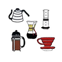 WINZIK Novelty Brooch Pin Set 5pcs Pretty Coffee Cup Pot Series Pattern Enamel-liked Lapel Pins Badges for Women Girls Clothes Bags Decor