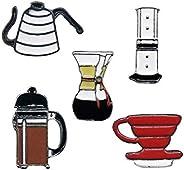 WINZIK Novelty Brooch Pin Set 5pcs Pretty Coffee Cup Pot Series Pattern Enamel-liked Lapel Pins Badges for Wom