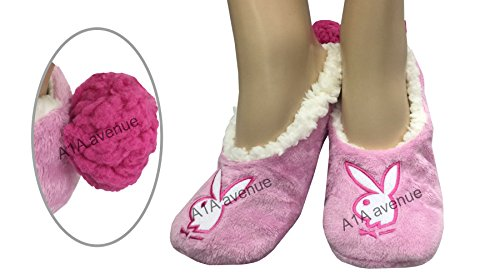 pair-of-womens-ladies-comfortable-cosy-warm-playboy-sherpa-indoor-lounge-slippers-with-pom-pom-uk-4-