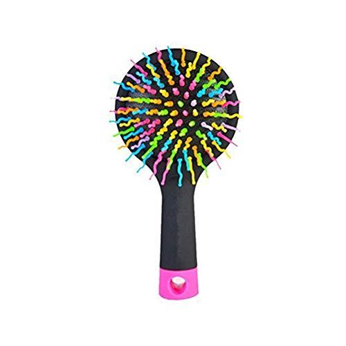 Naisicatar Anti-Statik-Regenbogen-Massage-Kamm Praktische Entwirren Haar-Bürste Wiederverwendbare Locken Spiegel Kamm Schwarz nützlich und schön