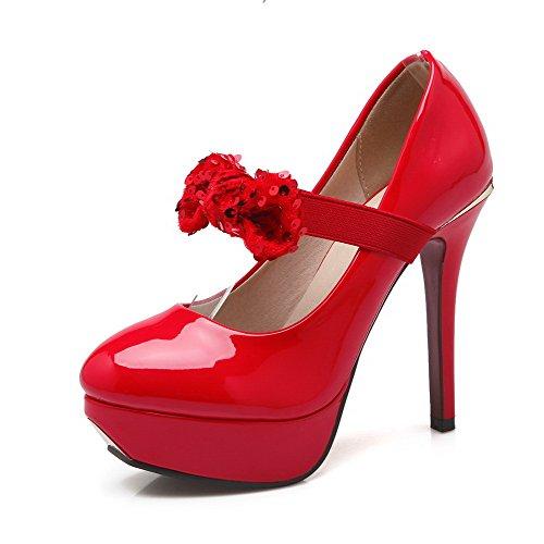 VogueZone009 Femme Couleur Unie Pu Cuir Stylet Rond Tire Chaussures Légeres Rouge