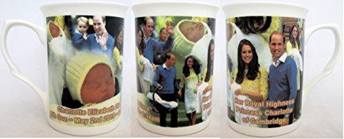 Altesse-Princess-Charlotte de Cambridge Mug en porcelaine Fine Motif Royal Family Collage de vues commémoratives Tasse décorée à la main Motif livraison gratuite UK - Fine Porcelaine