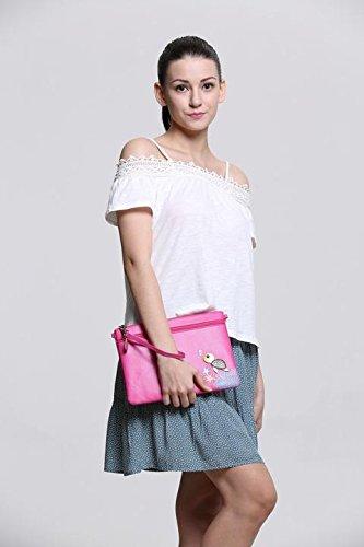 Menkai donna borsa di disegno in rilievo tracolla tartaruga Peacock 767D1 Pink