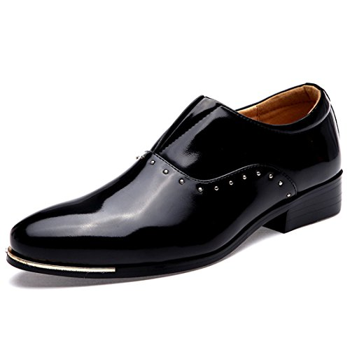 Men's Italian Style Soft Patent Leather Pointed Toe Formal Shoes Black