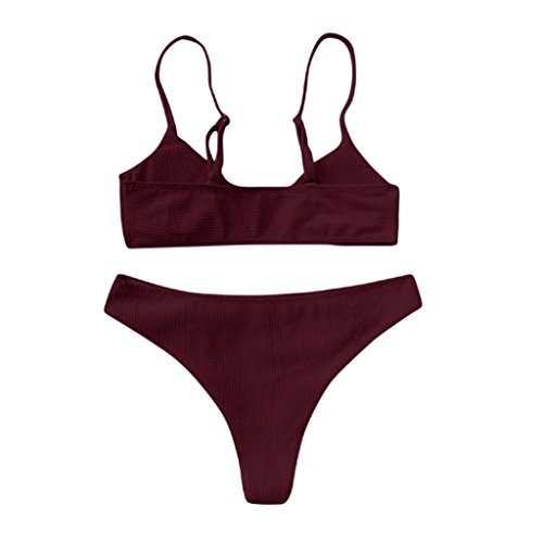 Dessous-Sets, GJKK Damen Bikini Set Push Up Bikini Bralette Bademode Freche Bikini Bottom Badeanzug Tribal Bikini Set Push Up Soft Cups Mit Bügel (Weinrot, L) (Doll Cup Baby Lace Soft)
