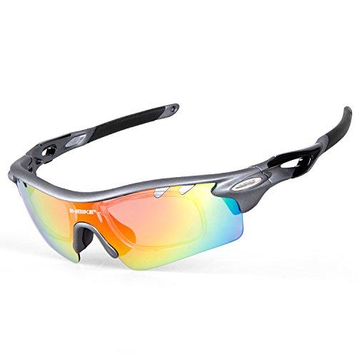 Inbike occhiali ciclismo polarizzati anti-uv con 5 lenti intercambiabili per sport(grigio)