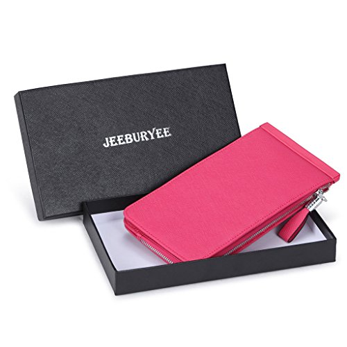 JEEBURYEE Women's Genuine Leather Multi Credit Card Holder Wallet RFID Blocking Clutch Long Purse with Zipper Pocket Rose Red