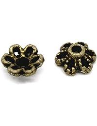 Housweety Bijoux Accessoires 300 Perles calotte Coupelles Caps Fleur Bronze 6x2.8mm