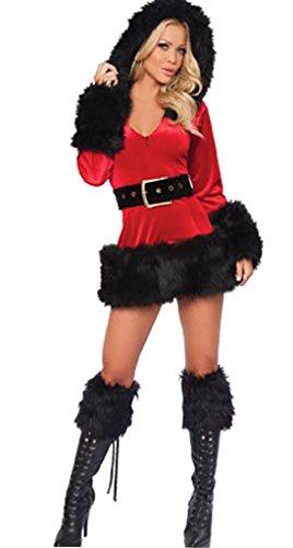 queenl-miss Santa Damen Fancy Weihnachten Kostüm Cosplay Kapuzen -