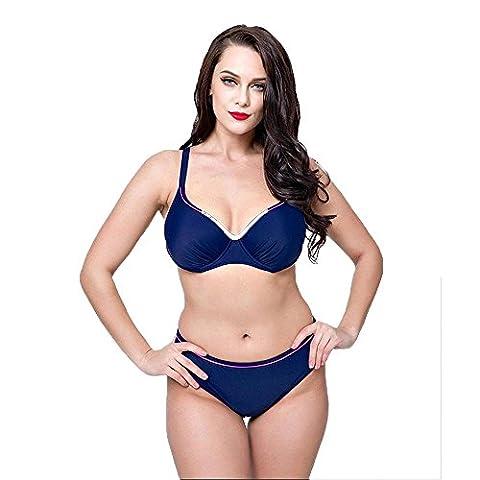 WANGXN Womens Split Swimsuit Bikini Solid Color Big Push , hidden blue , 52