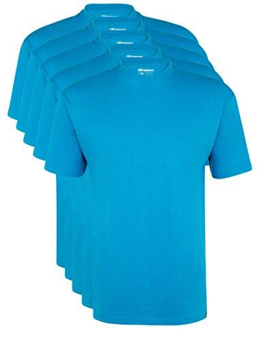 Ultrasport Herren Sport Freizeit T-Shirt mit Rundhalsausschnitt 5er Set, Blau, XL, 1317-160