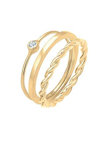 Elli Damen Echtschmuck Ring Ringset Stapelring Solitär mit Swarovski Kristalle in 925 Sterling Silber vergoldet