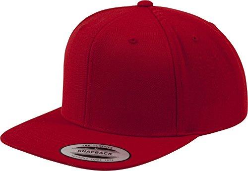 Flexfit Classic Snapback Cap, Mütze Unisex Kappe für Damen und Herren, One Size, plus extra Kindergröße red/red