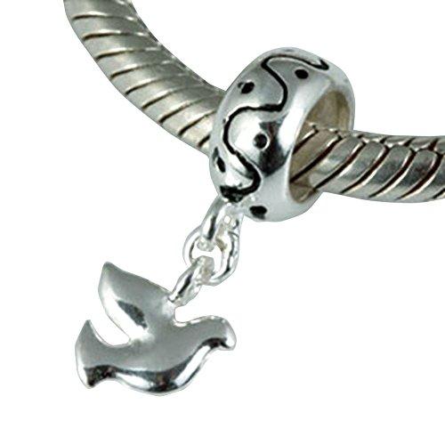Soulbead uccello della pace colomba in argento Sterling 925ciondoli per braccialetti o collane