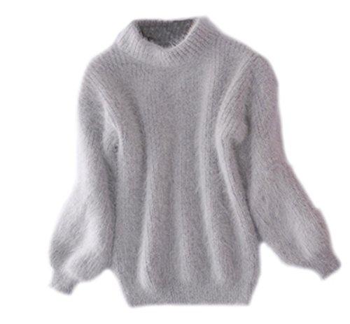 Maglia donna eleganti maglieria manica lunga maglioni autunno inverno sciolto puro colore sweater maglione top magliette grigio