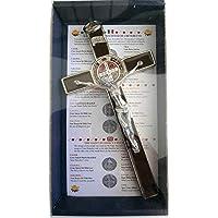 10.004.31Brown - Cruz de plata marrón de San Benito, 20cm, esmaltada con caja de regalo, para exorcismo, cura, sacerdote, iglesia, monja