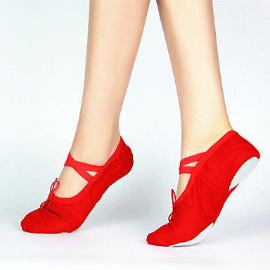 Ruhe @ 100% Baumwolle Leinwand Ballett Dance Schuhe für Frauen und Kinder Rot