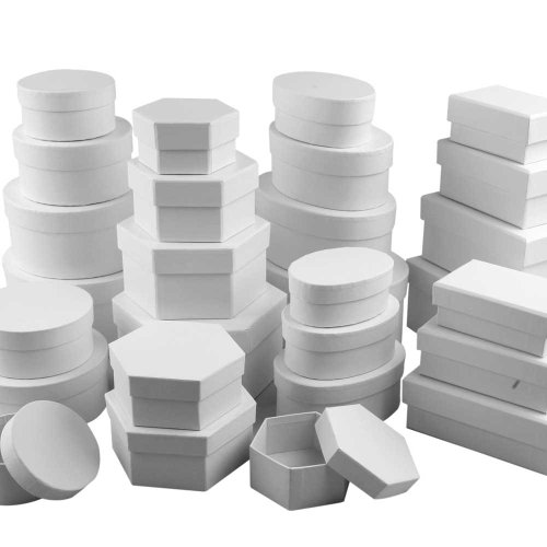 Creativ Cardboard Box Assortment 168 Assorted Bulk Buy Assorted Shapes and Sizes, White