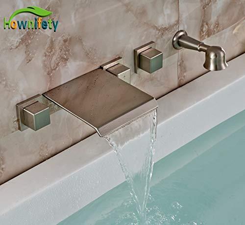 U-enjoy lampadario spazzolato vasca nichel rubinetto maniglie superiore batteria tre toccare con ottone doccia whitehandheld spedizione gratuita
