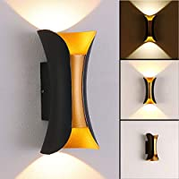 Hibo Outdoor Porch Wall Light Lamp Sconce Waterproof LED Indoor 10W Warm 3000K Black-Gold