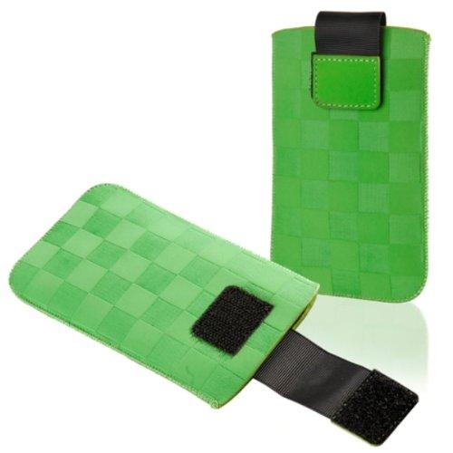 Handytasche Chess für ZTE Blade Q Mini Handy Tasche Schutz Hülle Slim Case Cover Etui in grün mit Klettverschluss (ku-s1-gn-ch)