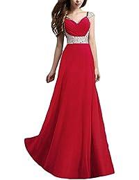 Vestiti Cerimonia Donna Festiva Elegante Grazioso Abiti da Sera Lunghi V  Collo Chic Smanicato High Waist Paillettes Cucitura… ec3f1e635b5