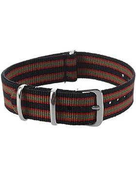 Uhrenarmband - SODIAL(R) Gurt Streifen Design Dunkelgruene rote schwarze 18mm Uhr Frauen Manner Unisex Segeltuch...