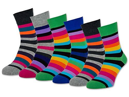 6 oder 12 Paar Damensocken Baumwolle Ringel ohne Naht Damen Socken Geringelt - 11979 (35-38, 6 Paar | Farbmix)