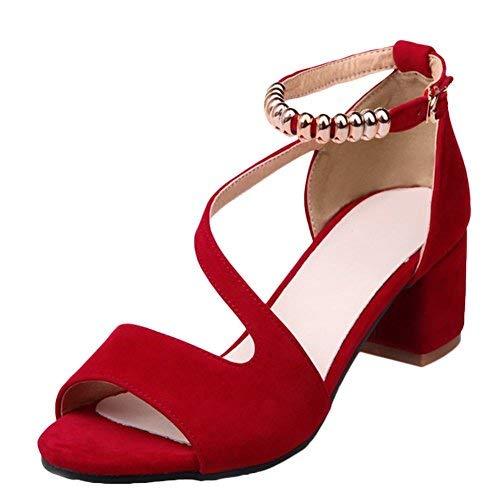 MissSaSa Donna Sandali col Tacco metà Elegante e Fashion (38, Rosso)