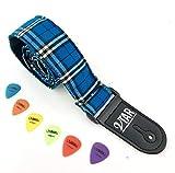 Tartan Plaid-Entwurf Elektrische/Akustische Gitarrengurt mit verstellbaren Länge & 6 Freie Plektren - Elektrisch Blau