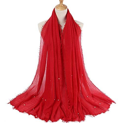 ubble Baumwolle Schal Hijab Wrap Gedruckt Einfarbig Schals A 95x180cm ()