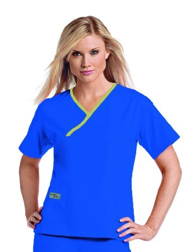Urbane Essentials Women 's Crossover Solid Scrub Top xxx-large Royal Blue w/Lime Trim Size: xxx-large Color royal blue w/Lime Trim, Model: ln-9501- bel3x L, Tools & Hardware Store (Crossover Trim)